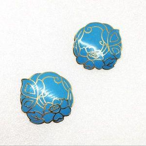Vtg Cloisonne Enameled Stud Earrings Blue Flower